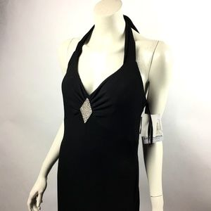 Gunne Sax 11 / 12 Black Halter Stretch Dress NWT